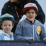 Cruz and Romeo Beckham cheer on dad, David, at his LA Galaxy home game.