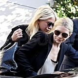 Mary-Kate and Ashley Olsen are in Paris to debut their Row handbag collection.