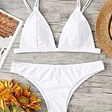 Romwe Adjust Strap Triangle Bikini Set
