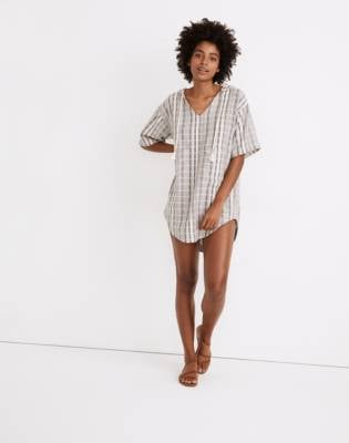 Madewell Hooded Cover-Up Tunic Dress in Stripe
