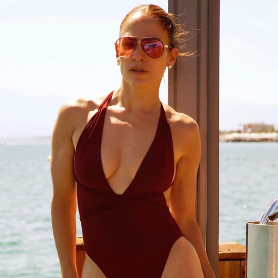 Jennifer Lopez Red One-Piece Swimsuit August 2019