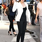 Emma Watson waved to the crowds outside of the Late Show in NYC.