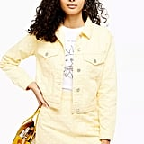 Topshop Yellow Polka Dot Denim Jacket