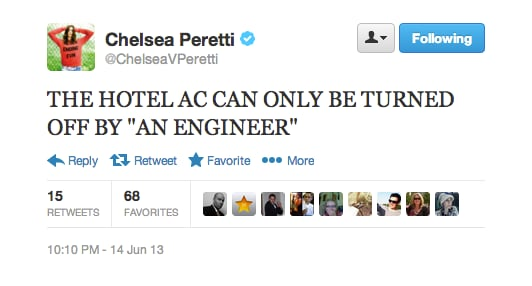 Comedian Chelsea Peretti was not happy about her hotel's A/C situation.