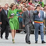 Queen Mathilde wearing Natan during the Hanswijck's Calvade in 2013.