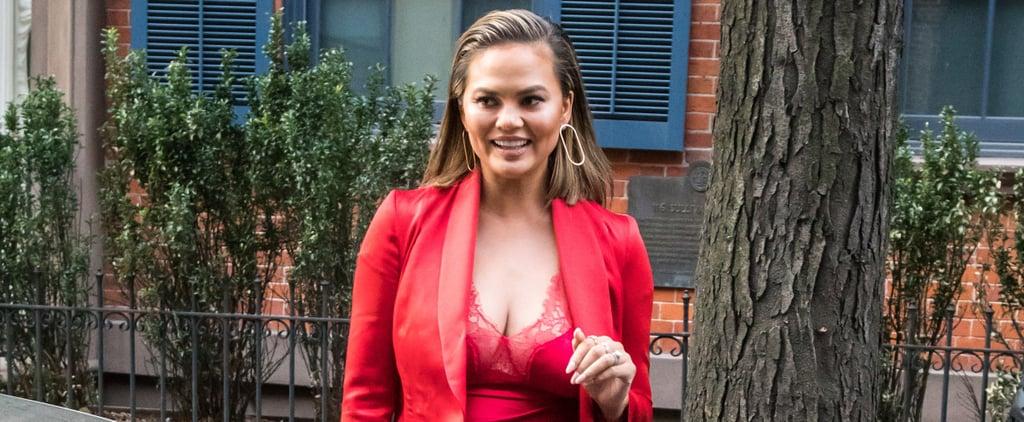 Chrissy Teigen Red Slip Dress on Jimmy Fallon