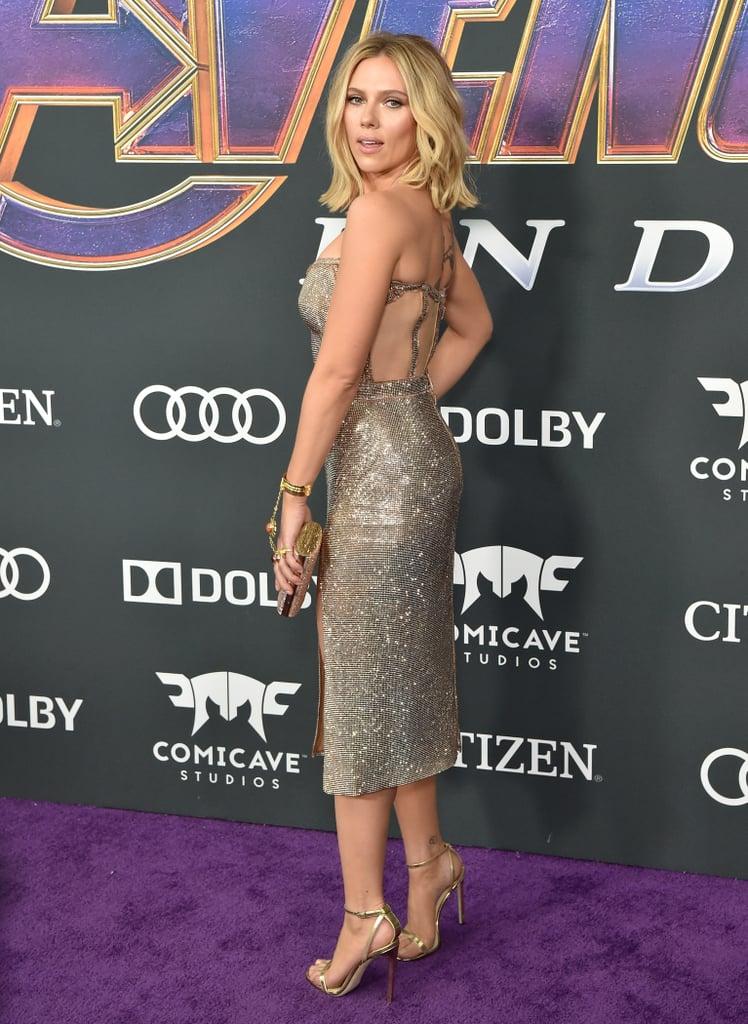 Scarlett Johansson Silver Dress at Avengers Endgame Premiere