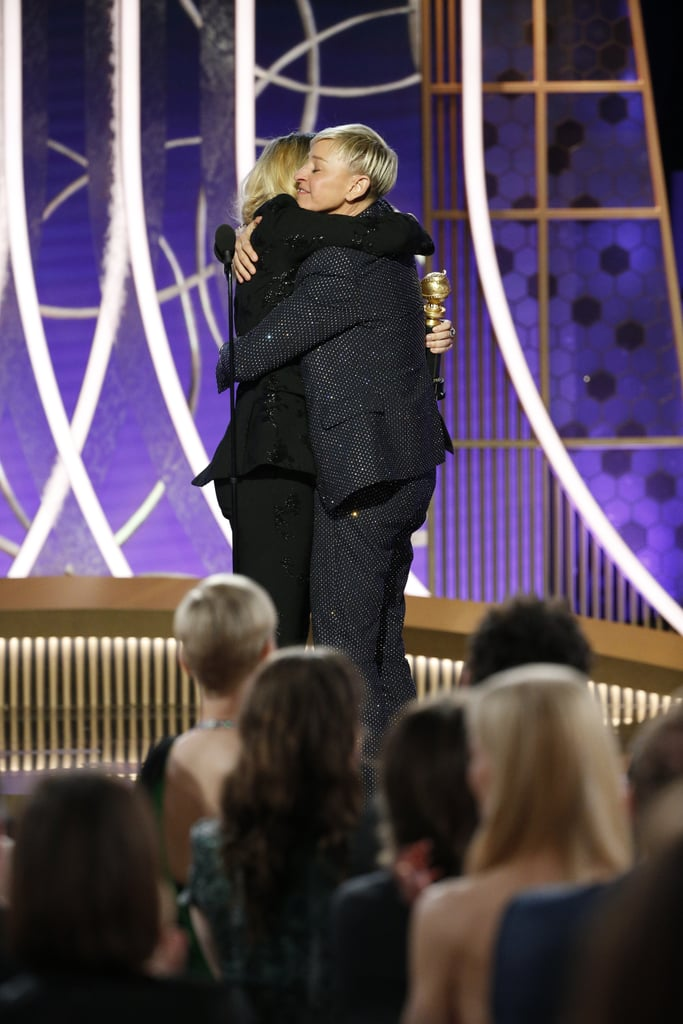 "Ellen DeGeneres was the guest of honor at Sunday's Golden Globe Awards. The 61-year-old comedian and television host received the Carol Burnett award for her outstanding contributions to television on or off the screen, making her the second person to ever get the award aside from Burnett herself. Kate McKinnon presented her with the award and delivered an emotional tribute, explaining how DeGeneres personally influenced her and paved the way for her and other LGBTQ+ stars.  She began by giving a list of all the things DeGeneres has given her over the years, including ""a roadmap or a way to be funny that is grounded in an expression of joy,"" ""a desire to bring everyone together by laughing about the things that we have in common,"" and ""a sense of self."" She then concluded her speech by thanking DeGeneres, adding, ""Thank you Ellen for giving me a shot, a shot at a good life."" ""All I've ever wanted to do is make people feel good and laugh."" Of course, DeGeneres had a few jokes up her sleeve when she got up on stage, but she then got serious and spoke about the greatest part about being on television. ""Television inspired and influenced everything that I am today . . . all I've ever wanted to do is make people feel good and laugh,"" she said. ""There's no greater feeling than when someone tells me that I've made their day better with my show or that I've helped them get through a sickness or a hard time in their lives. But the real power of television for me is not the people who watch my show, but the people who watch my show and then they're inspired to do go out and do the same thing in their own lives."" Watch McKinnon and DeGeneres's powerful speeches ahead.      Related:                                                                                                           Presenting the 2020 Golden Globe Awards Winners!"