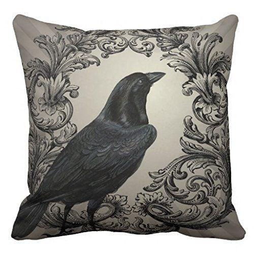 SJbaby Modern Vintage Halloween Crow Pillow Case