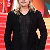 He was clad in head-to-toe black (with just a bit of skin showing) at the Moscow premiere of World War Z in June 2013.