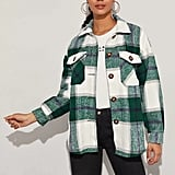Shein Buttoned Flap Pocket Front Plaid Coat