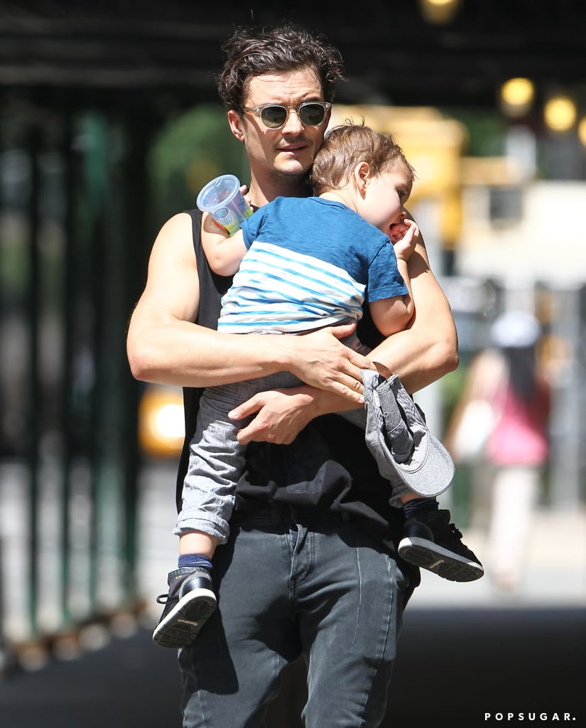 Orlando Bloom carried a tuckered-out Flynn home from the park on Saturday.