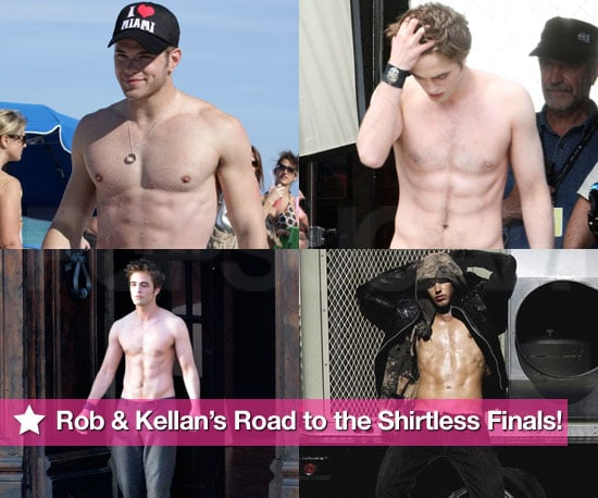 Shirtless Photos of Robert Pattinson and Kellan Lutz for PopSugar Hottest Shirtless Guy Contest