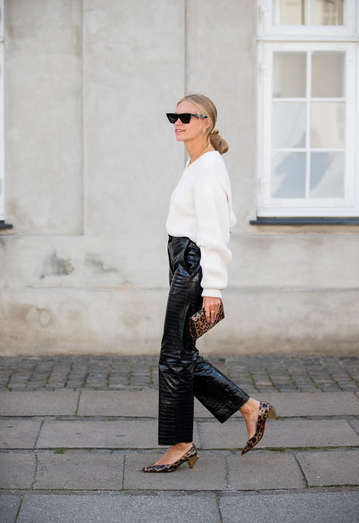 Fall Outfit Idea: Leather Pants + Leopard Heels