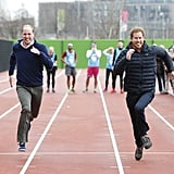 Harry, Kate Middleton, and Prince William all went head-to-head in a relay race to promote their Heads Together campaign in London in February 2017.