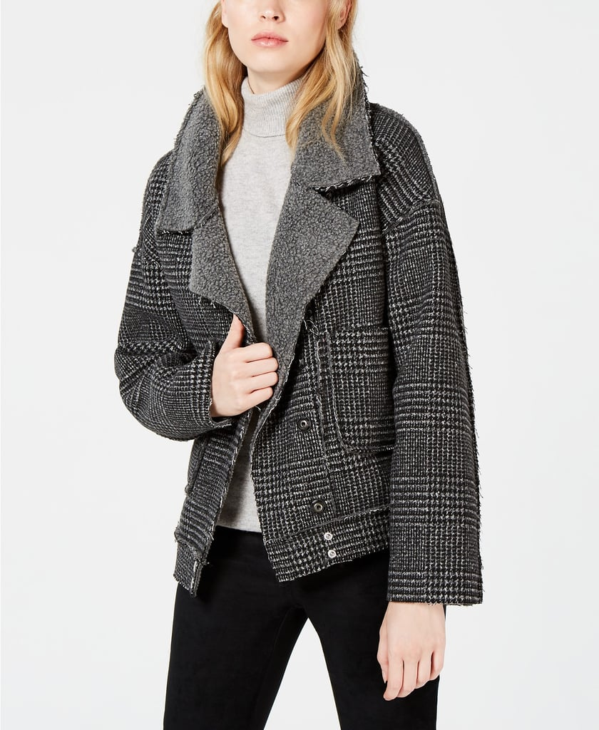 Sage The Label Plaid & Fleece Moto Jacket