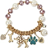 Betsey Johnson Gold-Tone Beaded Poodle Charm Bracelet ($35)