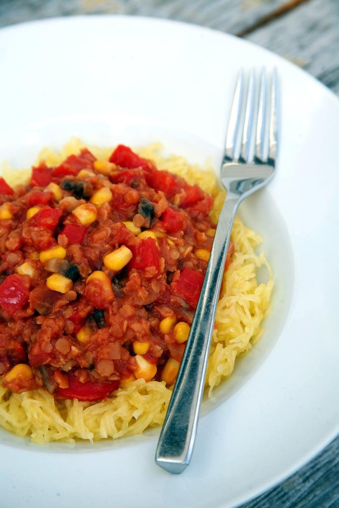 Maple Cumin Lentils Over Spaghetti Squash