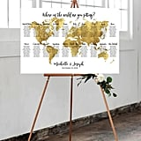 Editable Gold World Map Seating Chart