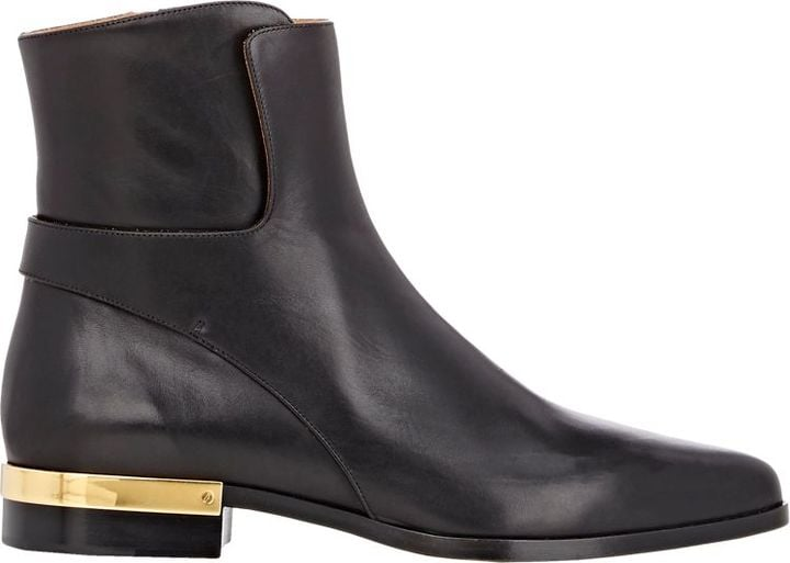 Chloé Leather Plated-Heel Boots-Colorless ($1,150)