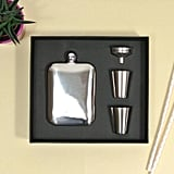 Silver Hip Flask Set With Personalised Leather Sleeve