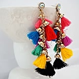 Multicolor Tassel and Gold Statement Earrings