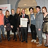 Ed Westwick, Stephanie Savage, Kelly Rutherford, Blake Lively, New York City Mayor Michael R. Bloomberg, Penn Badgley, Matthew Settle, Kaylee DeFer, and Josh Safran celebrated 100 Gossip Girl episodes.