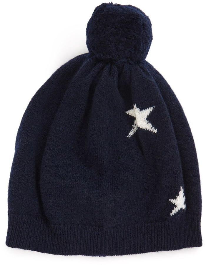 Chinti and Parker Navy Star Wool Bobble Hat  ($150)