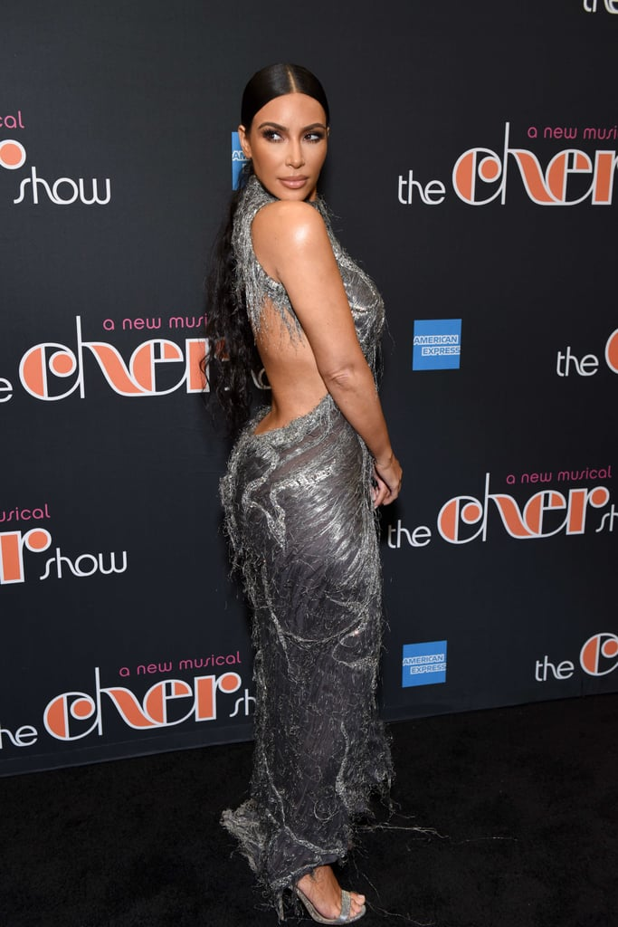 Kim Kardashian Silver Dress at The Cher Show December 2018