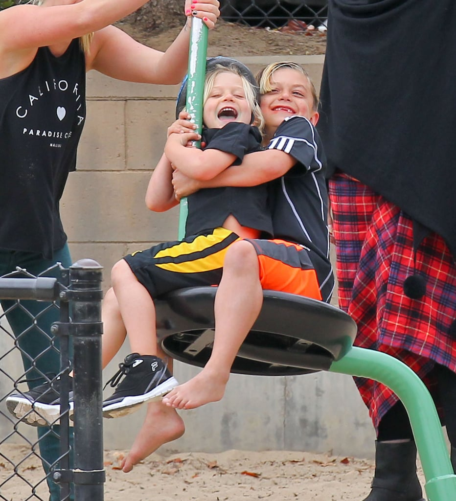 Kingston Rossdale and Zuma Rossdale had a laugh on a swing during a playdate at the park.