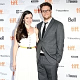 Seth Rogen and Lauren Miller posed for pictures at the 50/50 premiere at the Toronto Film Festival.