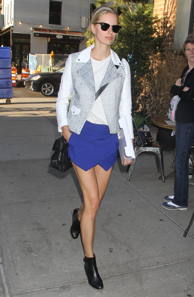 Karolina Kurkova's Sandro jacket and cobalt asymmetrical skirt made a fine fashion match in NYC.