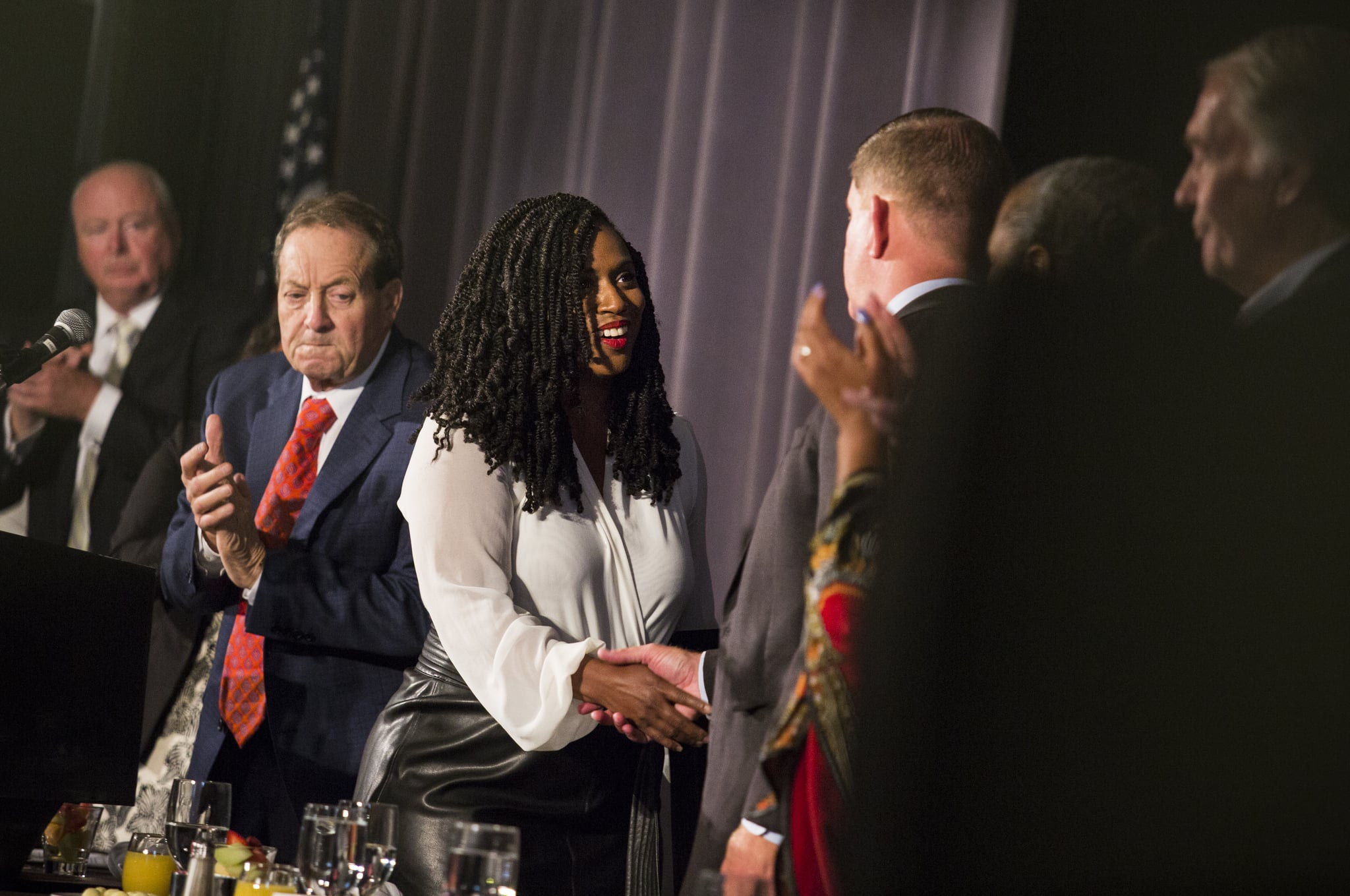 BOSTON, MA - SEPTEMBER 2: U.S. Representative Ayanna Pressley shakes hands with Boston Mayor Martin J. Walsh at the Annual Greater Boston Labour Council Breakfast in Boston on Sep. 2, 2019. Over 600 union leaders, activists and elected officials were in attendance. (Photo by Erin Clark for The Boston Globe via Getty Images)