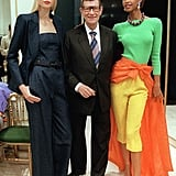 The designer posed with his models at his Spring '98 fashion show.