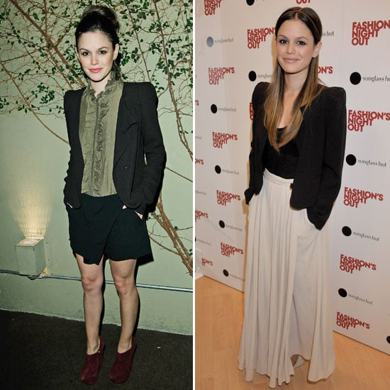 Rachel Bilson gives us two ways to work a blazer into our style routine. Adding interest and a dressier element, Rachel finished evening shorts with her Vanessa Bruno blazer. She used the same sophisticated piece to top off a maxi skirt for a more modern feel.