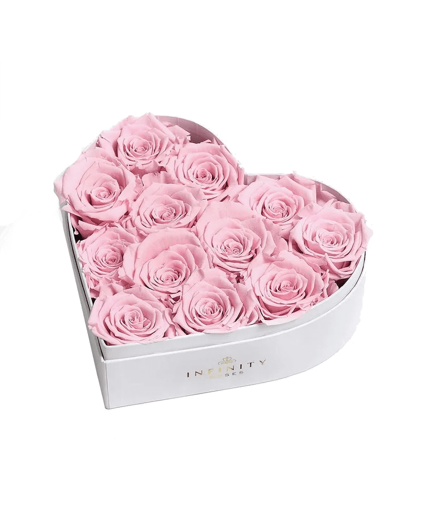 Infinity Roses Heart Box of 12 Pink Real Roses Preserved to Last Over a Year