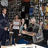 Prince William watched a juggler at Maison Dauphine in Quebec City.