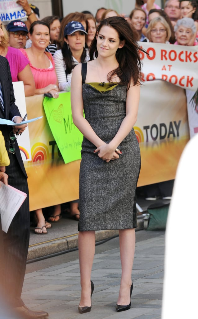 Kristen Stewart played up her demure side in a gray and olive Narciso Rodriguez Fall 2012 sheath and black pointy-toe Christian Louboutin pumps at the Today show.