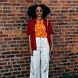 Pair Flared Pants With a T-Shirt and Button-Down Combo