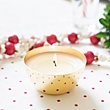Gold Metal Votive Holiday Fur Candle