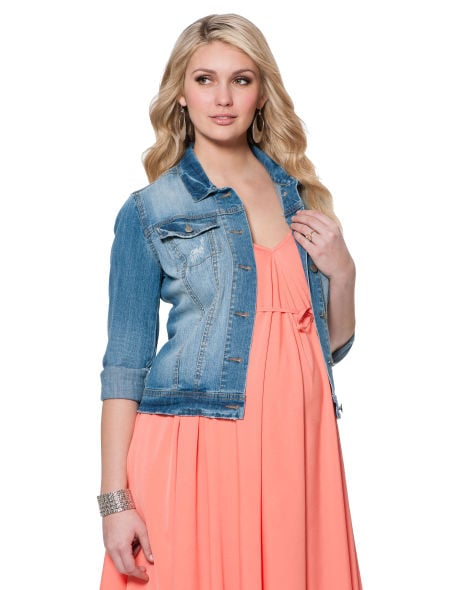 We love the idea of adding the Button Front Plain Weave Denim Maternity Jacket ($69) to almost any outfit this Spring.