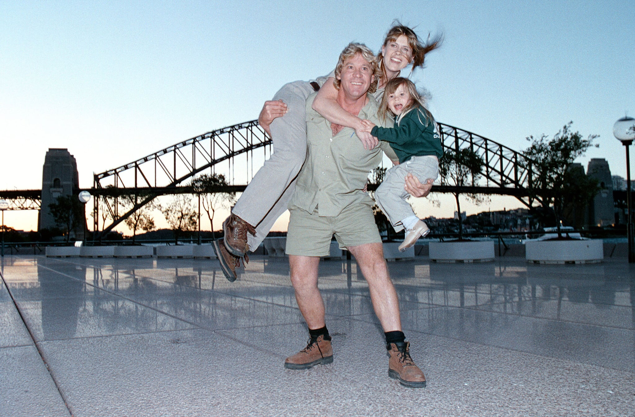 Steve Irwin with his wife Terri and daughter Bindi at the George Street Theatre in Sydney, Australia. (Photo by John Stanton/WireImage)