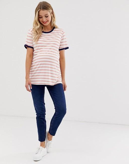 ASOS DESIGN Maternity nursing stripe t-shirt with contrast binding | ASOS