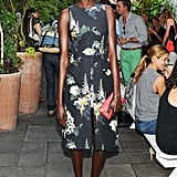 Ajak Deng embraced the warm weather in a floral cocktail dress at the Australian Fashion Foundation's New York event.
