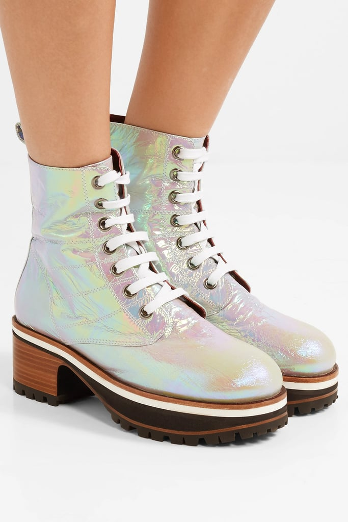 Sies Marjan Jessa Lace Up Iridescent Coated Leather Ankle Boots
