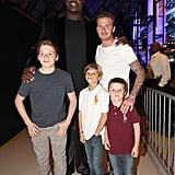 Shaquille O'Neal snapped a photo backstage with David Beckham, Brooklyn, Cruz, and Romeo at the February 2012 Cartoon Network Hall of Game Awards in LA.