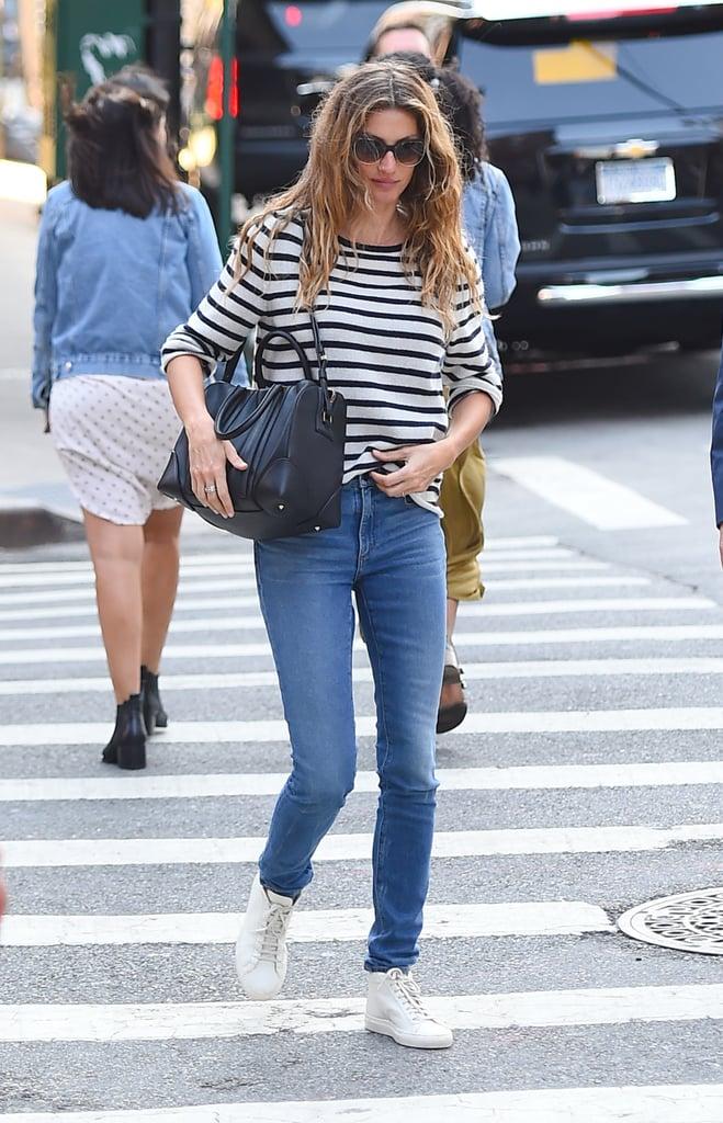 Gisele Bundchen Wearing Striped Shirt and Jeans