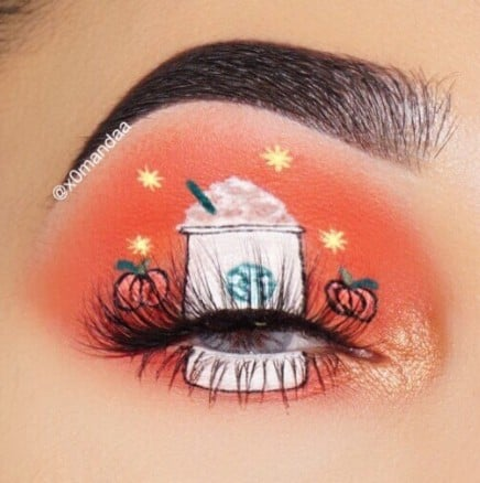 Pumpkin Spice Latte Eye Shadow Makeup Look on Instagram