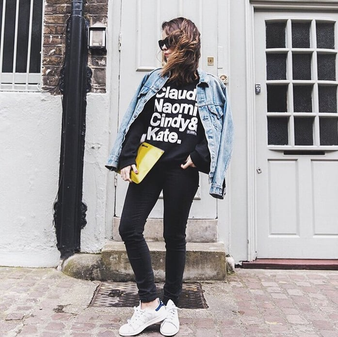 A Black Graphic Tee, Black Pants, a Denim Jacket, and ...