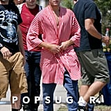 Zac Efron turned in his usual Townies suit for a robe while on set in LA.